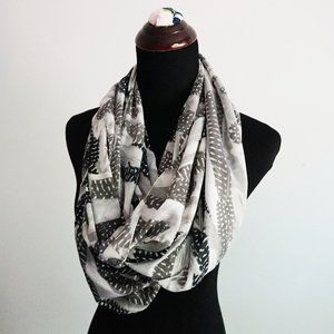 Black and Gray Feather Infinity Scarf